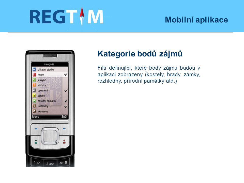 Mobilní aplikace Kategorie bodů zájmů