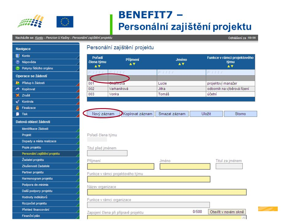 BENEFIT7 – Personální zajištění projektu
