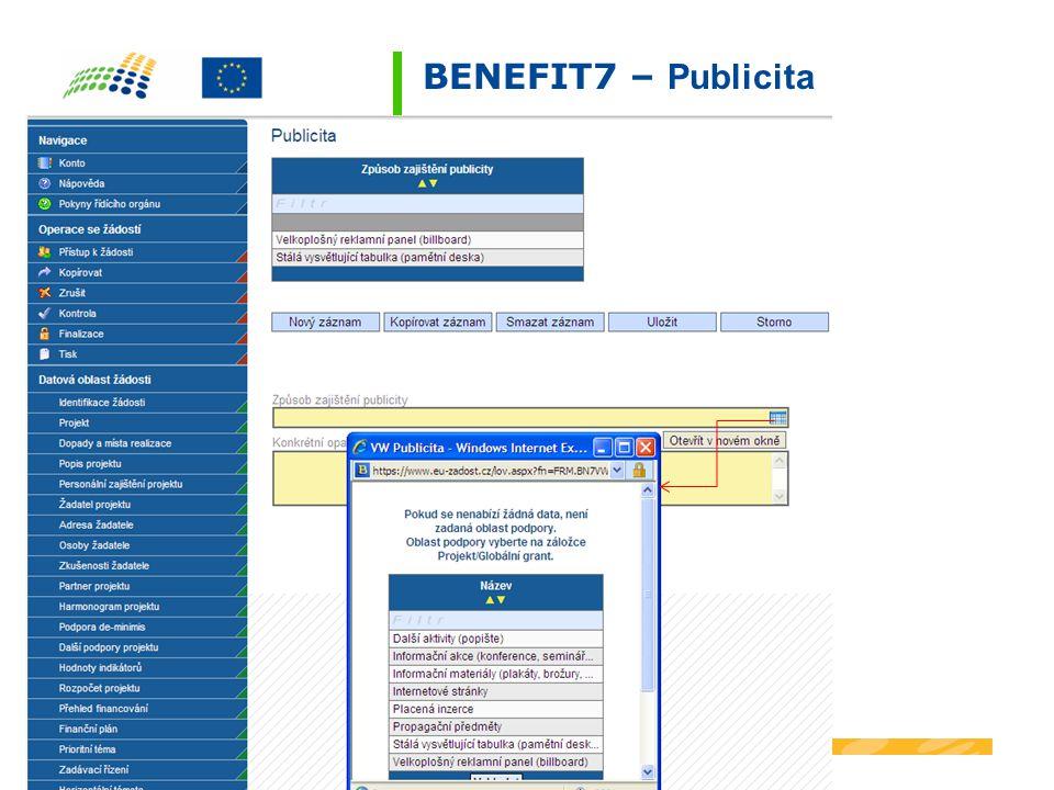BENEFIT7 – Publicita