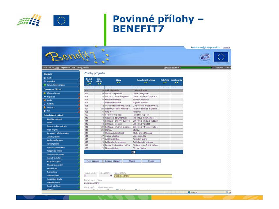 Povinné přílohy – BENEFIT7