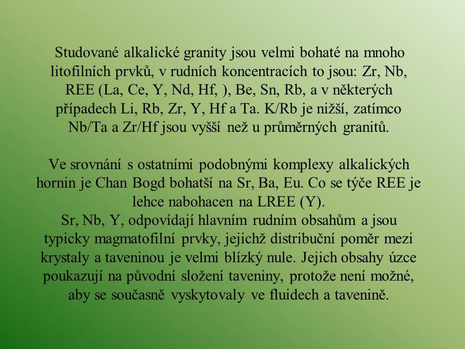 Studované alkalické granity jsou velmi bohaté na mnoho litofilních prvků, v rudních koncentracích to jsou: Zr, Nb, REE (La, Ce, Y, Nd, Hf, ), Be, Sn, Rb, a v některých případech Li, Rb, Zr, Y, Hf a Ta.