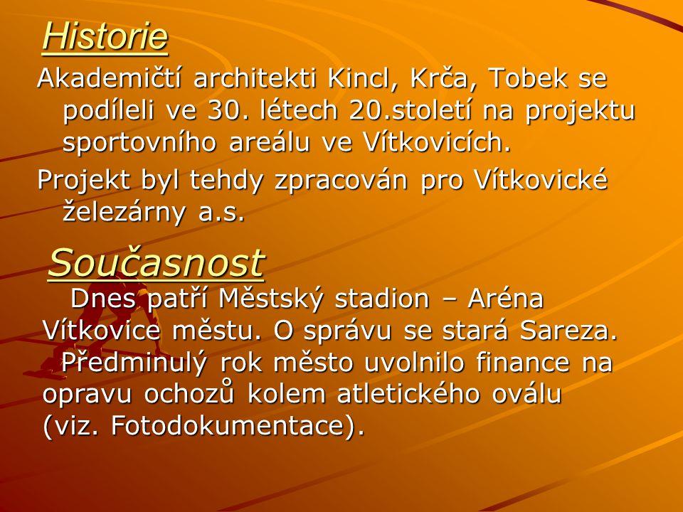 Historie Akademičtí architekti Kincl, Krča, Tobek se podíleli ve 30. létech 20.století na projektu sportovního areálu ve Vítkovicích.