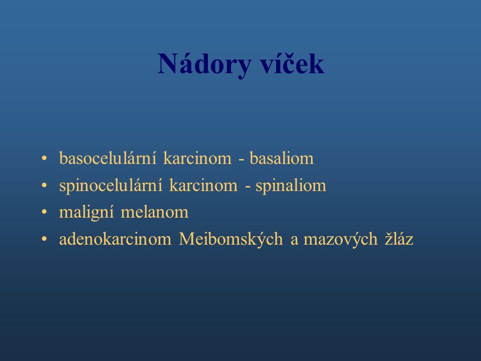 Nádory víček basocelulární karcinom - basaliom