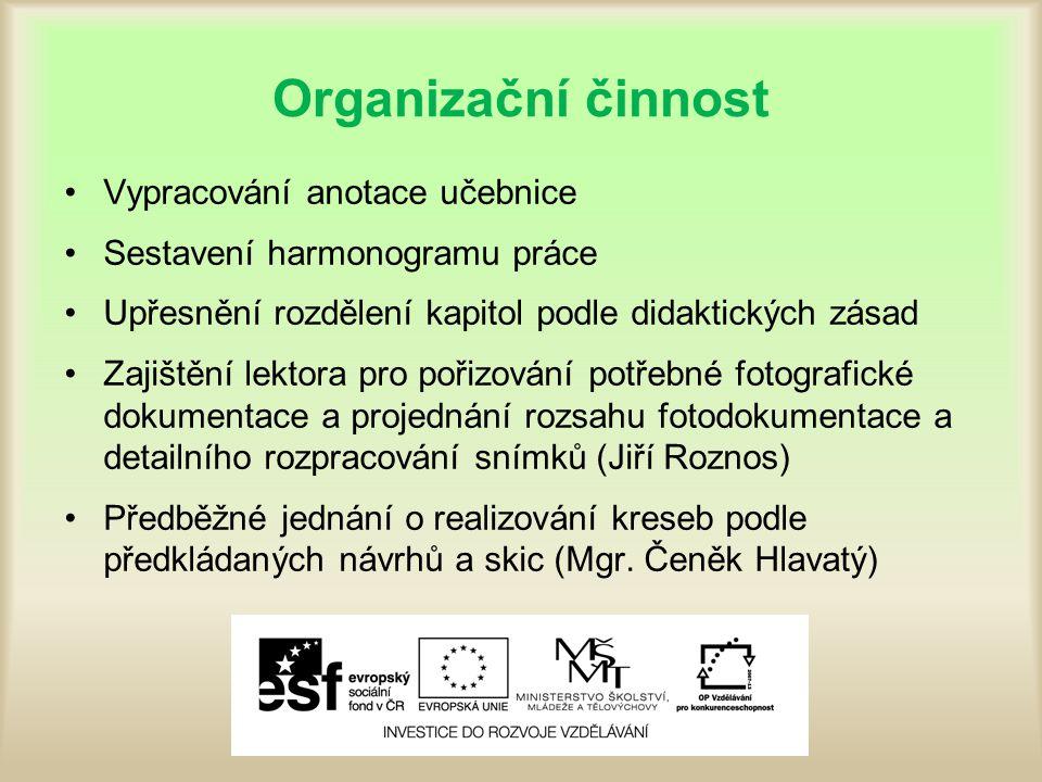 Organizační činnost Vypracování anotace učebnice