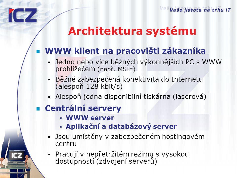 Architektura systému WWW klient na pracovišti zákazníka