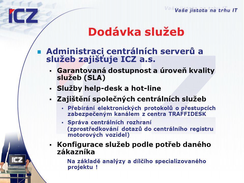 Dodávka služeb Administraci centrálních serverů a služeb zajišťuje ICZ a.s. Garantovaná dostupnost a úroveň kvality služeb (SLA)