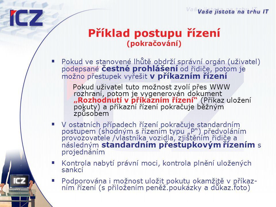 Příklad postupu řízení (pokračování)