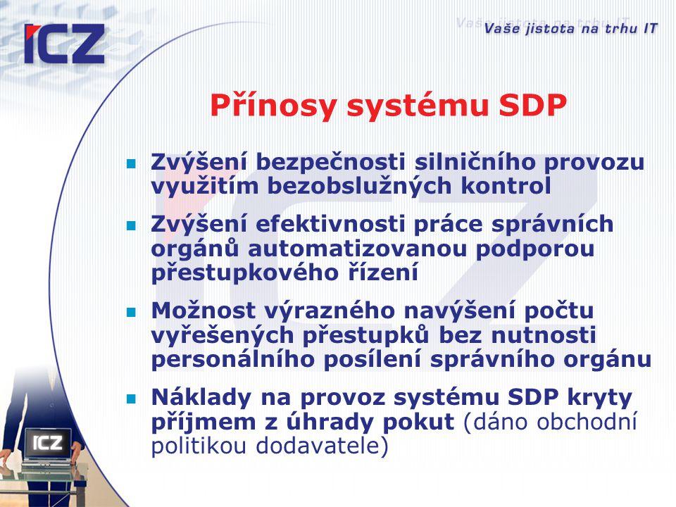 Přínosy systému SDP Zvýšení bezpečnosti silničního provozu využitím bezobslužných kontrol.