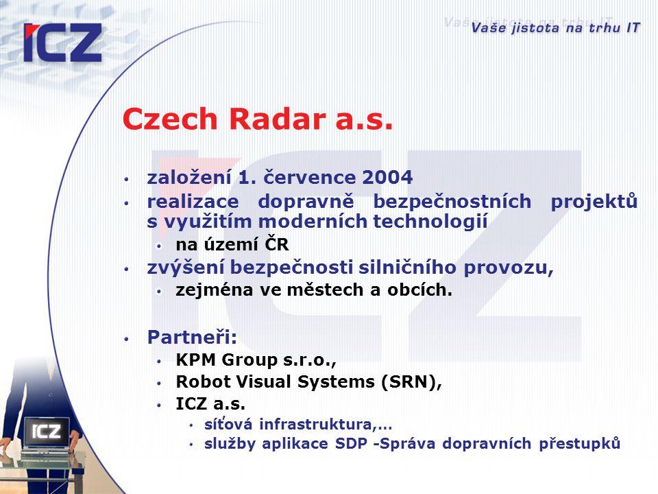 Czech Radar a.s. založení 1. července 2004