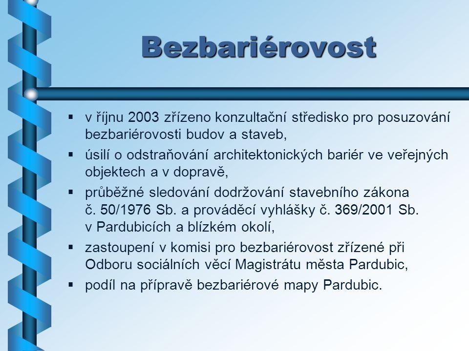 Bezbariérovost v říjnu 2003 zřízeno konzultační středisko pro posuzování bezbariérovosti budov a staveb,