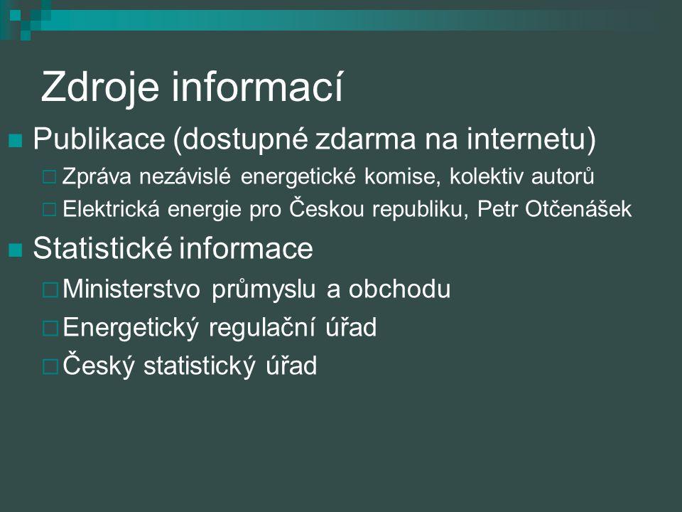 Zdroje informací Publikace (dostupné zdarma na internetu)