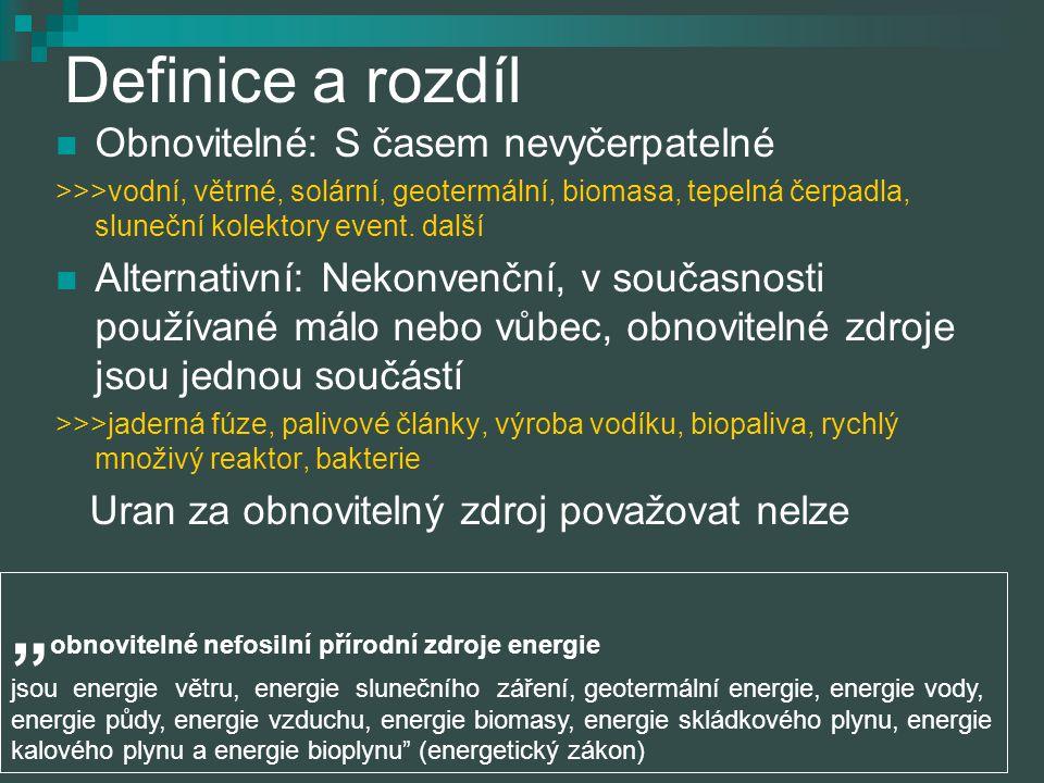 Definice a rozdíl Obnovitelné: S časem nevyčerpatelné.