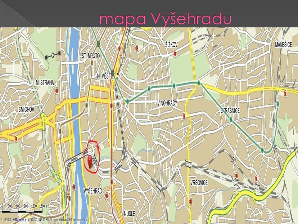 mapa Vyšehradu