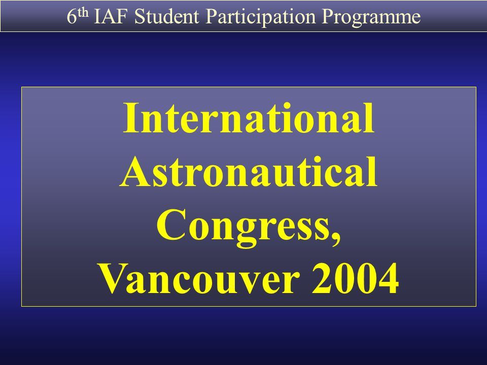 International Astronautical Congress,
