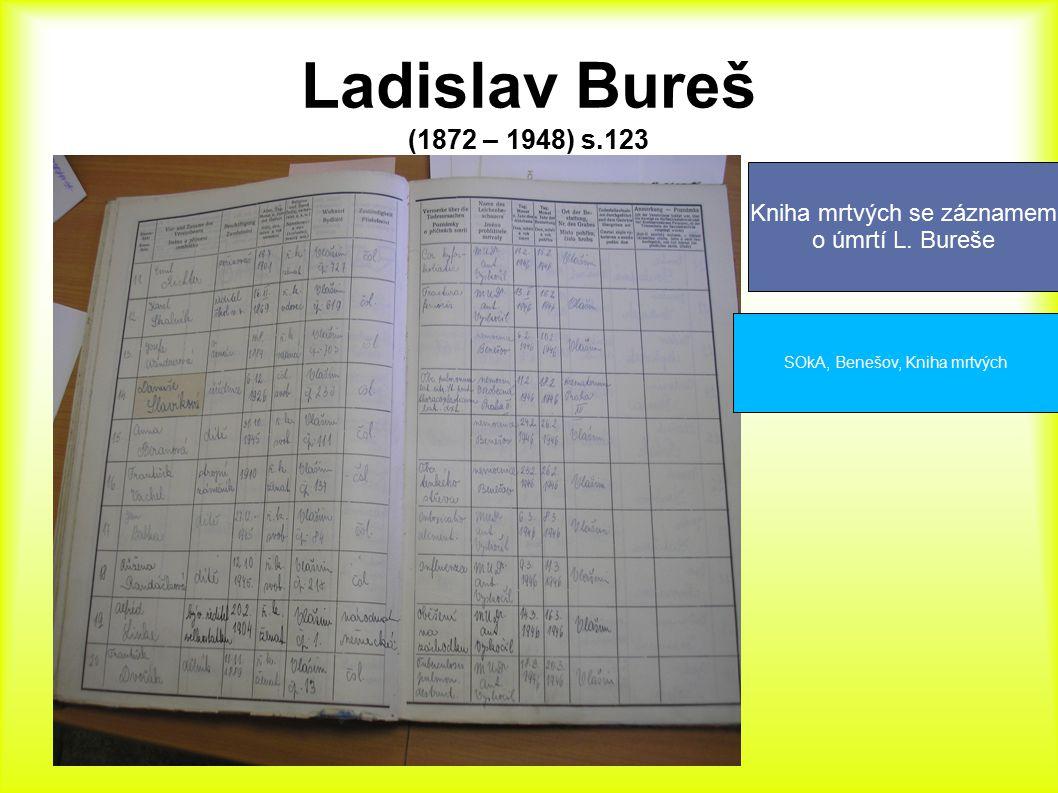 Ladislav Bureš (1872 – 1948) s.123 Kniha mrtvých se záznamem