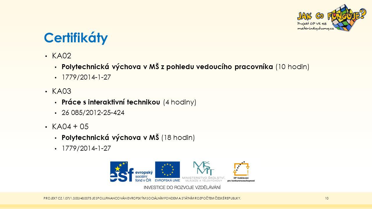 Certifikáty KA02. Polytechnická výchova v MŠ z pohledu vedoucího pracovníka (10 hodin) 1779/2014-1-27.