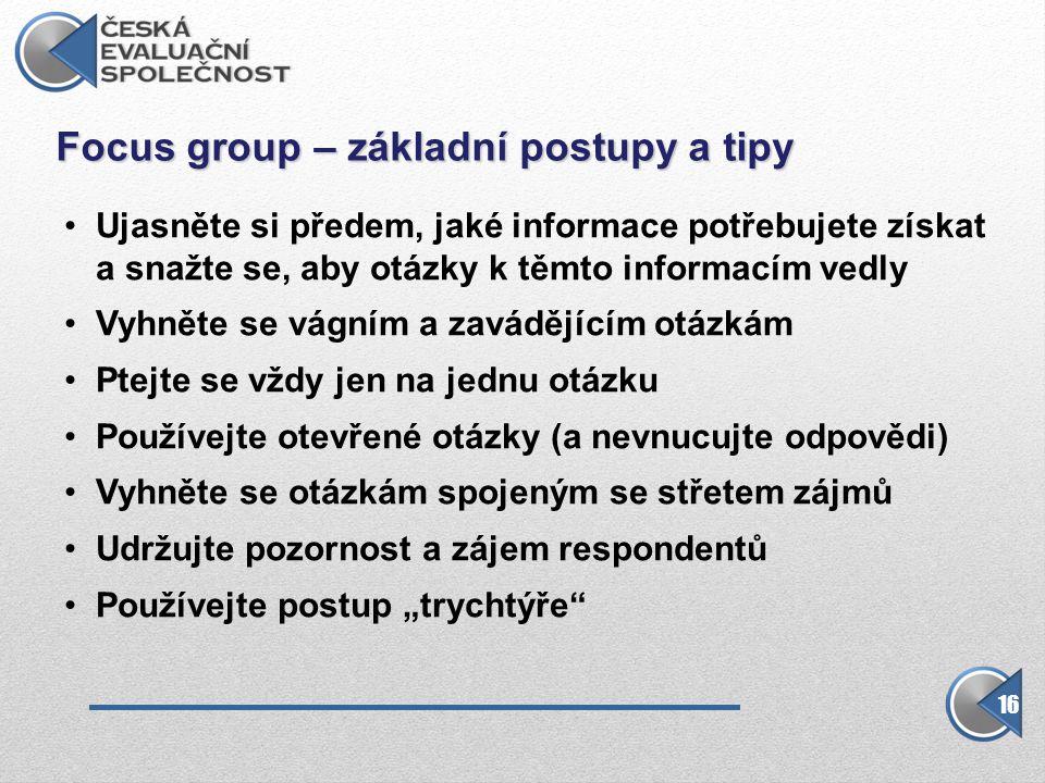 Focus group – základní postupy a tipy