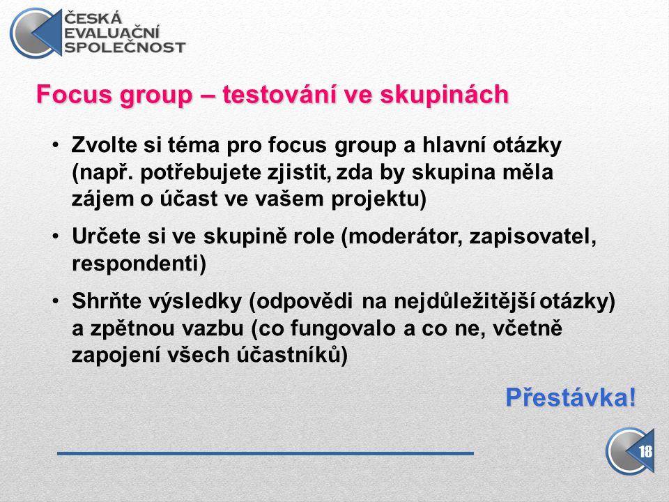 Focus group – testování ve skupinách