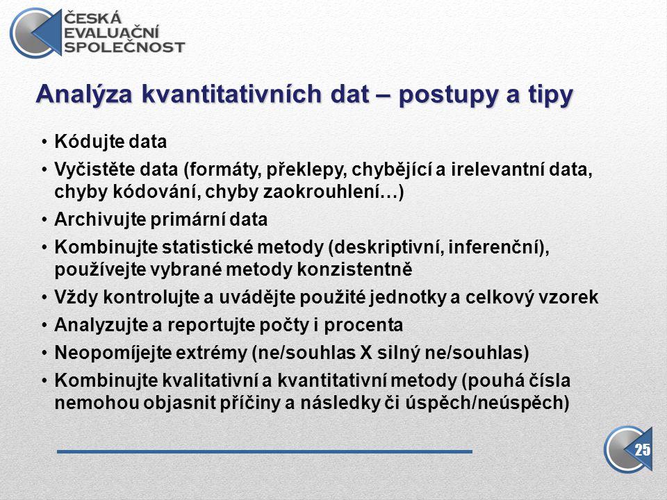 Analýza kvantitativních dat – postupy a tipy