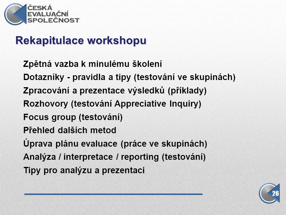 Rekapitulace workshopu