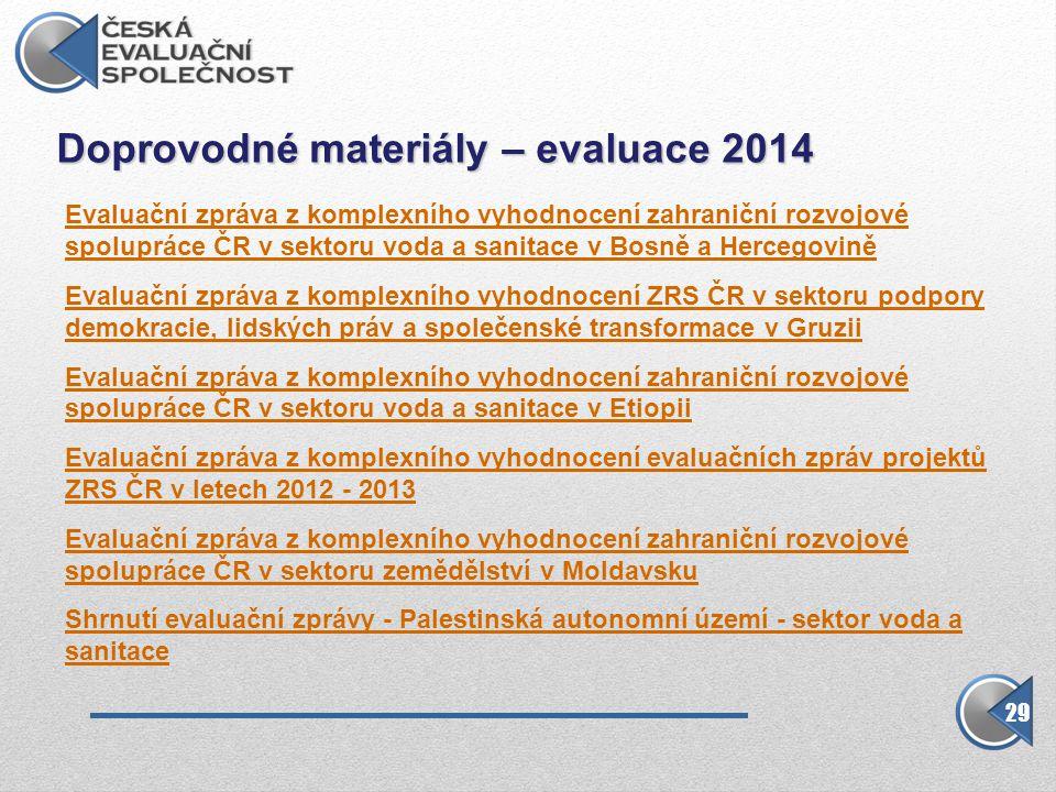 Doprovodné materiály – evaluace 2014