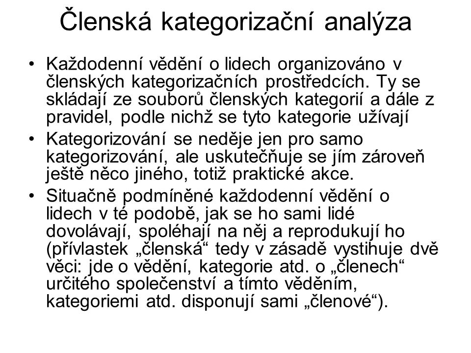 Členská kategorizační analýza