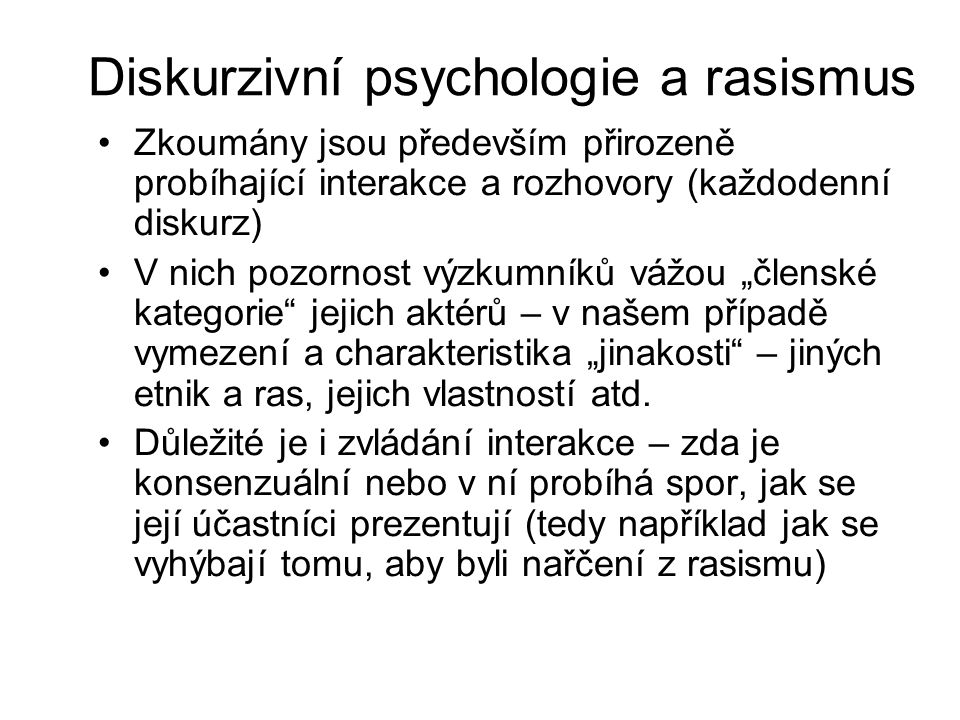 Diskurzivní psychologie a rasismus