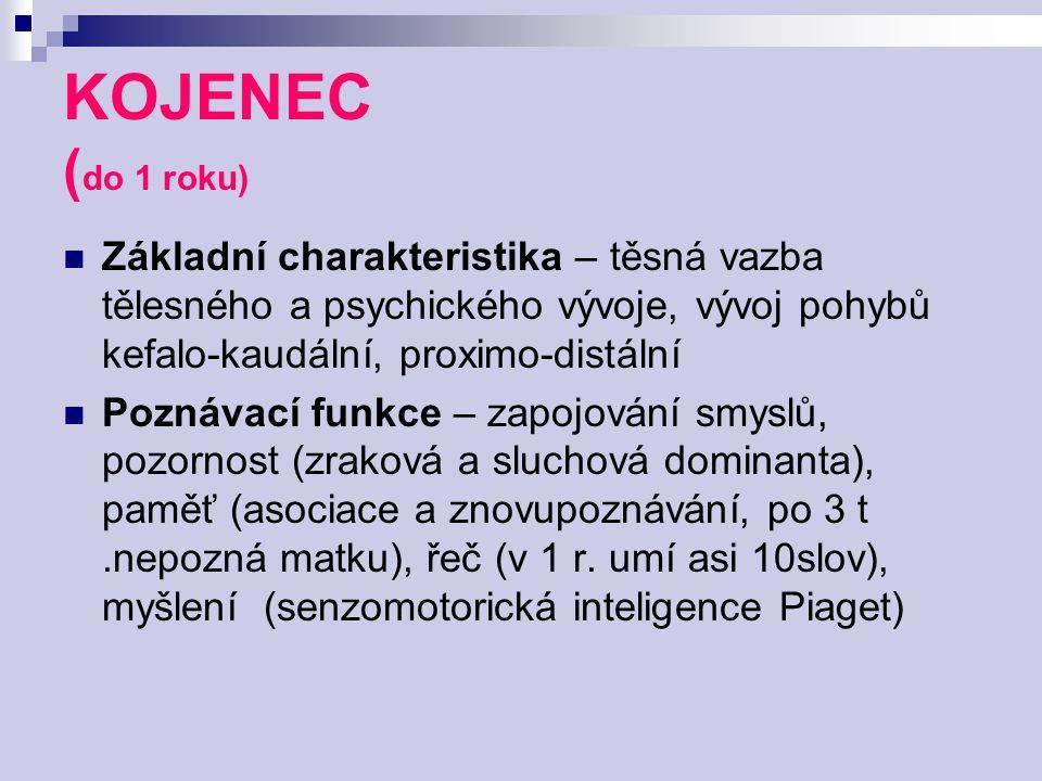 KOJENEC (do 1 roku) Základní charakteristika – těsná vazba tělesného a psychického vývoje, vývoj pohybů kefalo-kaudální, proximo-distální.