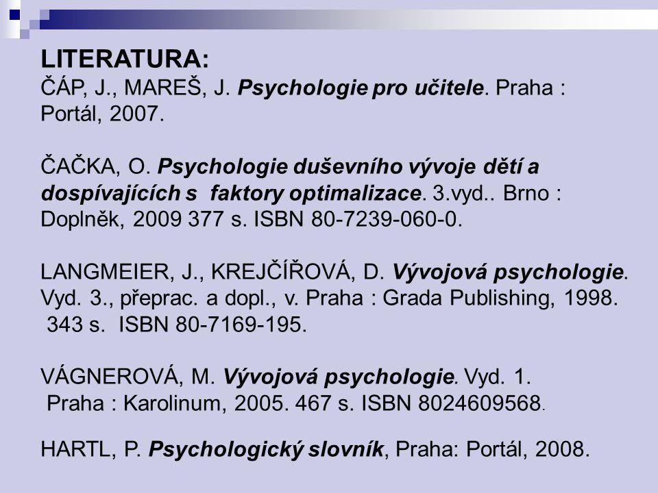 LITERATURA: ČÁP, J., MAREŠ, J. Psychologie pro učitele. Praha :