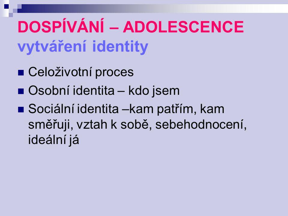 DOSPÍVÁNÍ – ADOLESCENCE vytváření identity