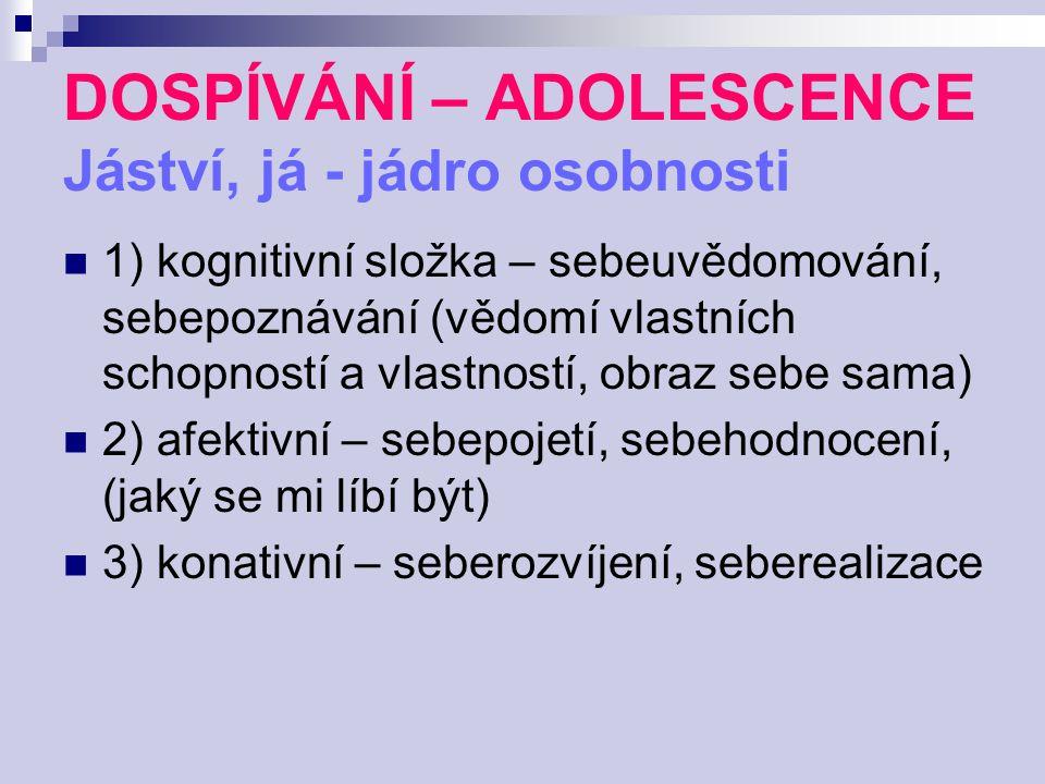 DOSPÍVÁNÍ – ADOLESCENCE Jáství, já - jádro osobnosti