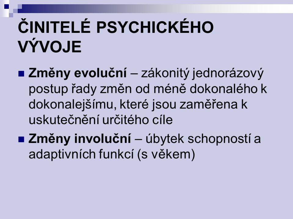 ČINITELÉ PSYCHICKÉHO VÝVOJE