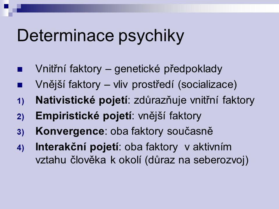 Determinace psychiky Vnitřní faktory – genetické předpoklady