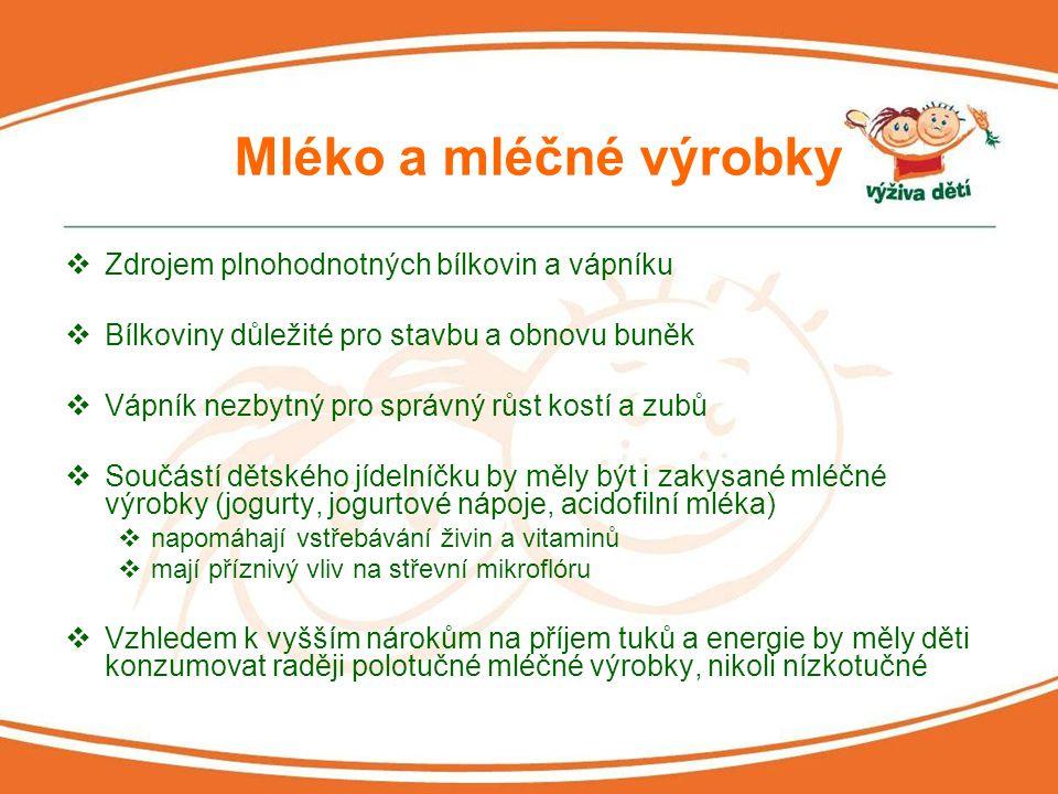 Mléko a mléčné výrobky Zdrojem plnohodnotných bílkovin a vápníku