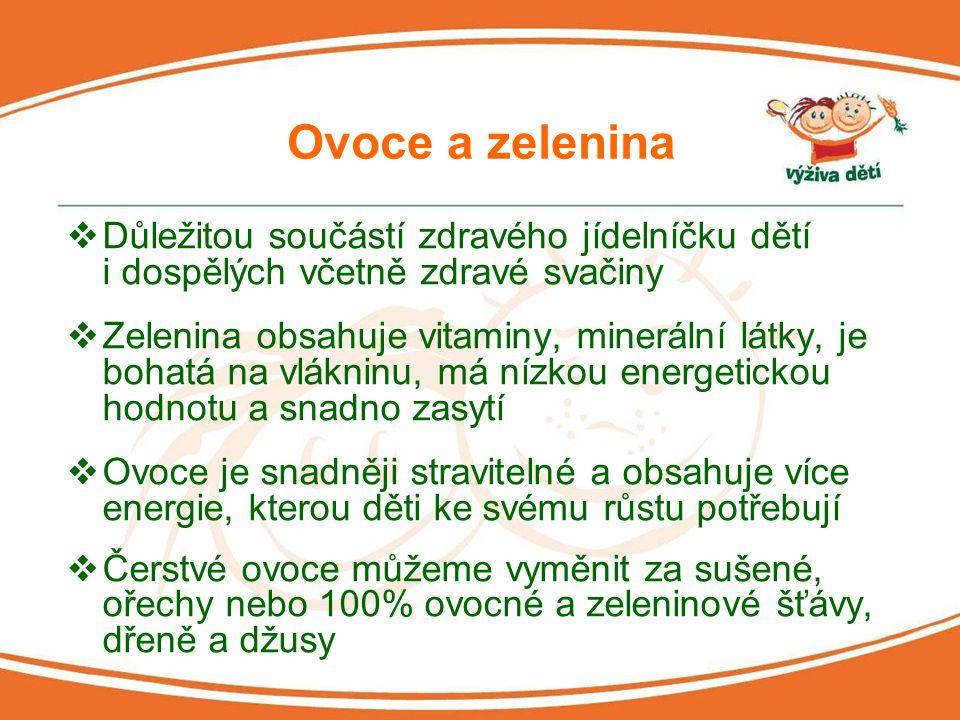 Ovoce a zelenina Důležitou součástí zdravého jídelníčku dětí i dospělých včetně zdravé svačiny.