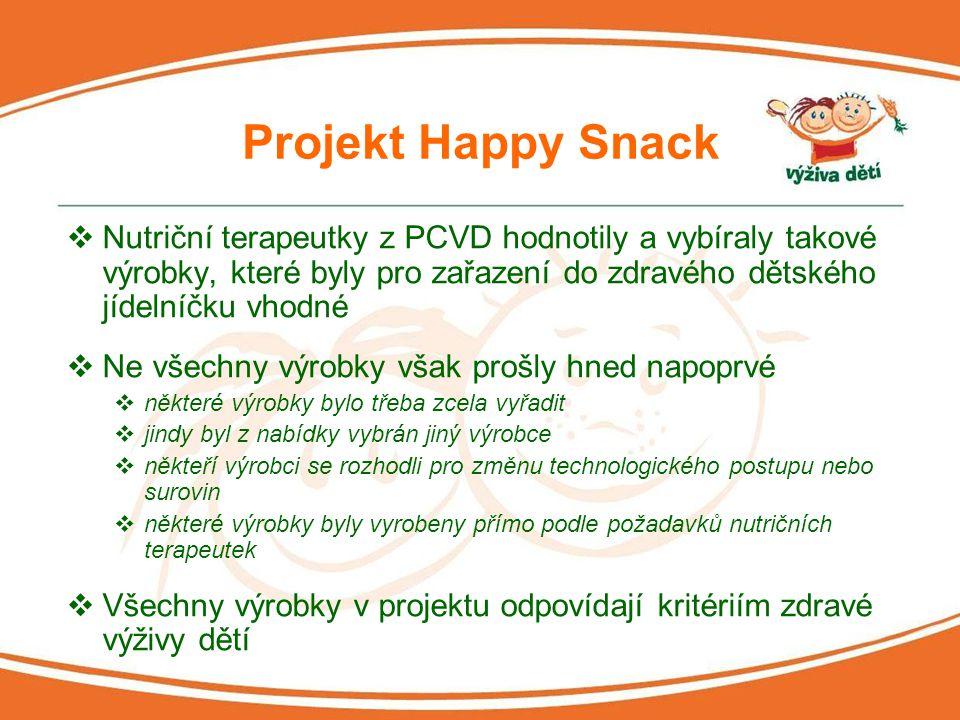 Projekt Happy Snack Nutriční terapeutky z PCVD hodnotily a vybíraly takové výrobky, které byly pro zařazení do zdravého dětského jídelníčku vhodné.