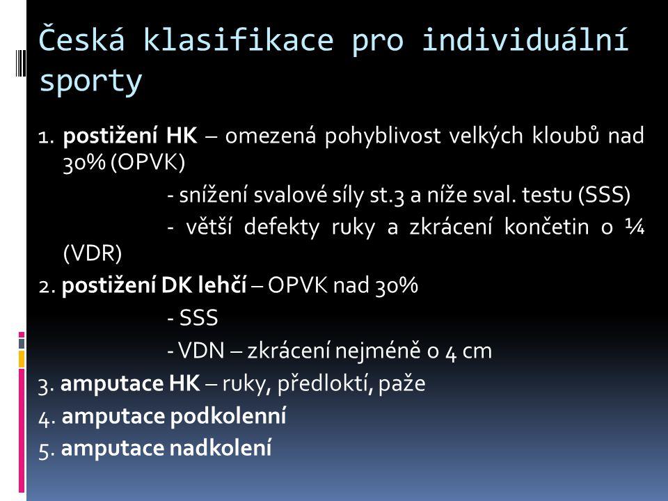 Česká klasifikace pro individuální sporty