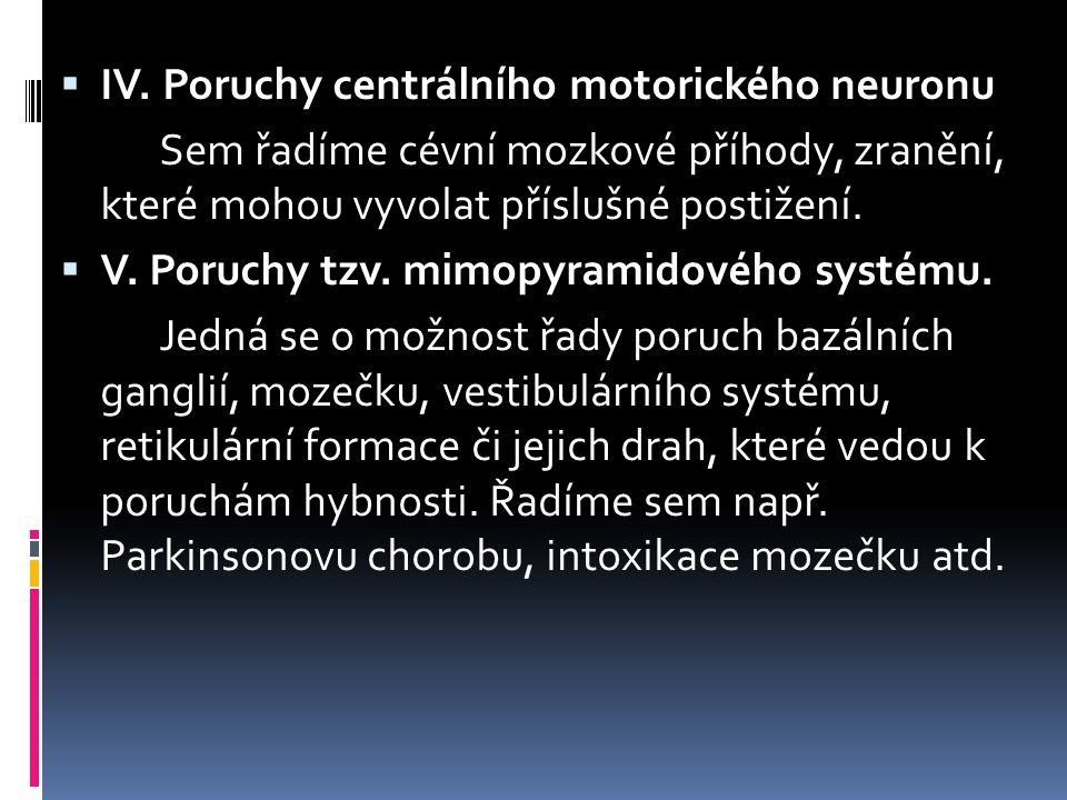 IV. Poruchy centrálního motorického neuronu