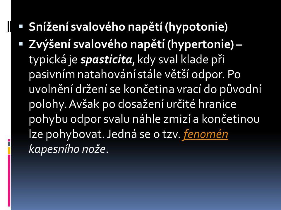 Snížení svalového napětí (hypotonie)
