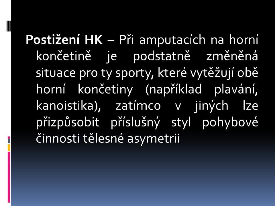 Postižení HK – Při amputacích na horní končetině je podstatně změněná situace pro ty sporty, které vytěžují obě horní končetiny (například plavání, kanoistika), zatímco v jiných lze přizpůsobit příslušný styl pohybové činnosti tělesné asymetrii