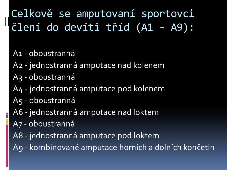 Celkově se amputovaní sportovci člení do devíti tříd (A1 - A9):