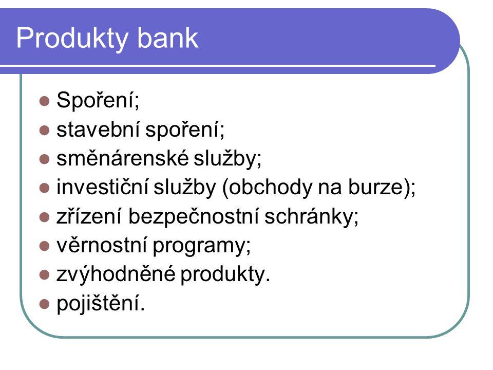 Produkty bank Spoření; stavební spoření; směnárenské služby;