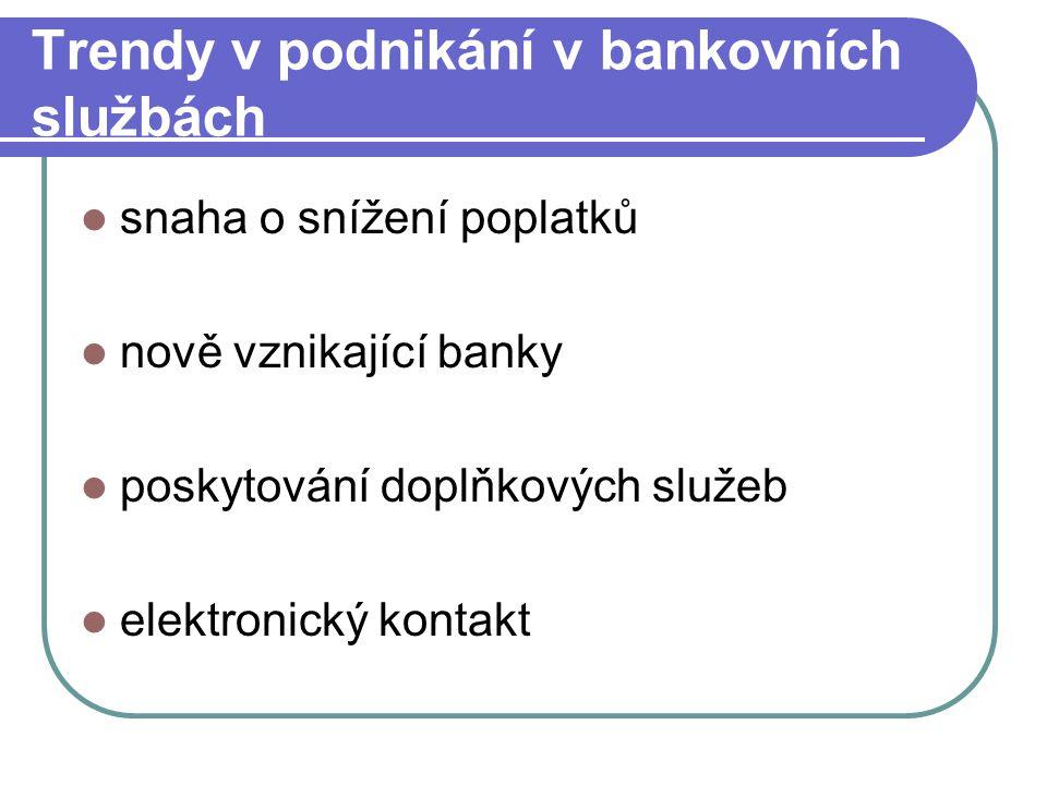 Trendy v podnikání v bankovních službách