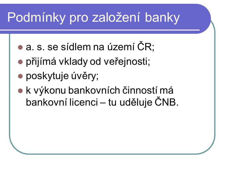 Podmínky pro založení banky