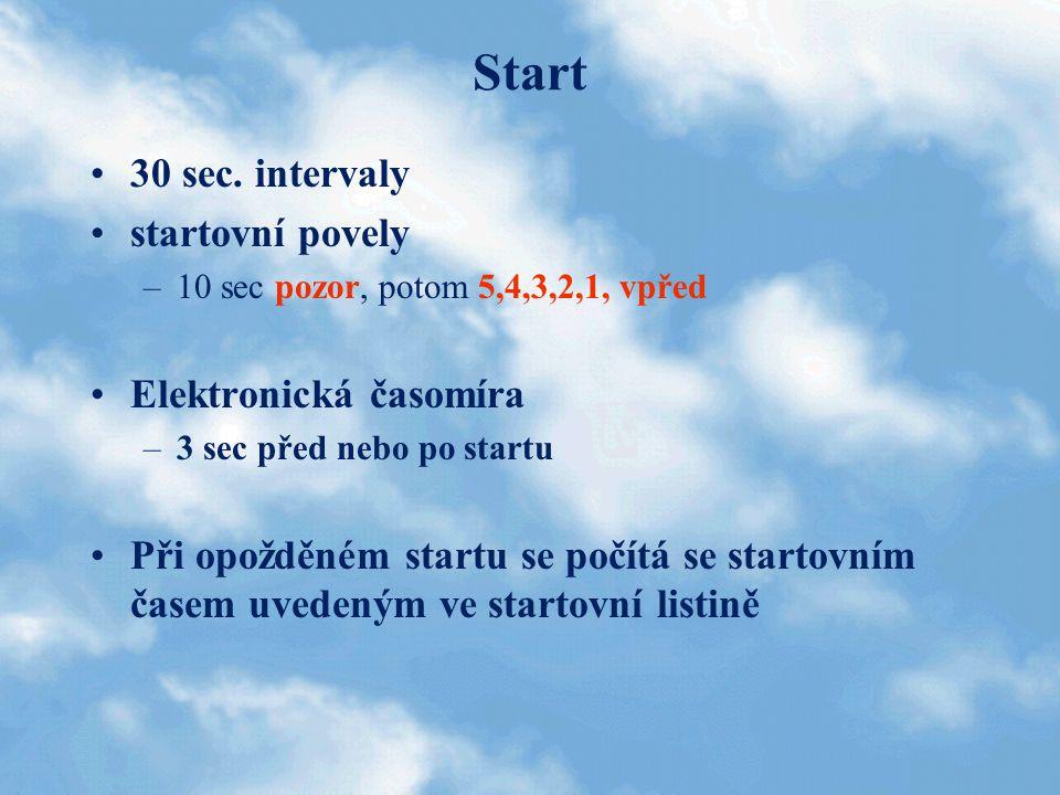 Start 30 sec. intervaly startovní povely Elektronická časomíra