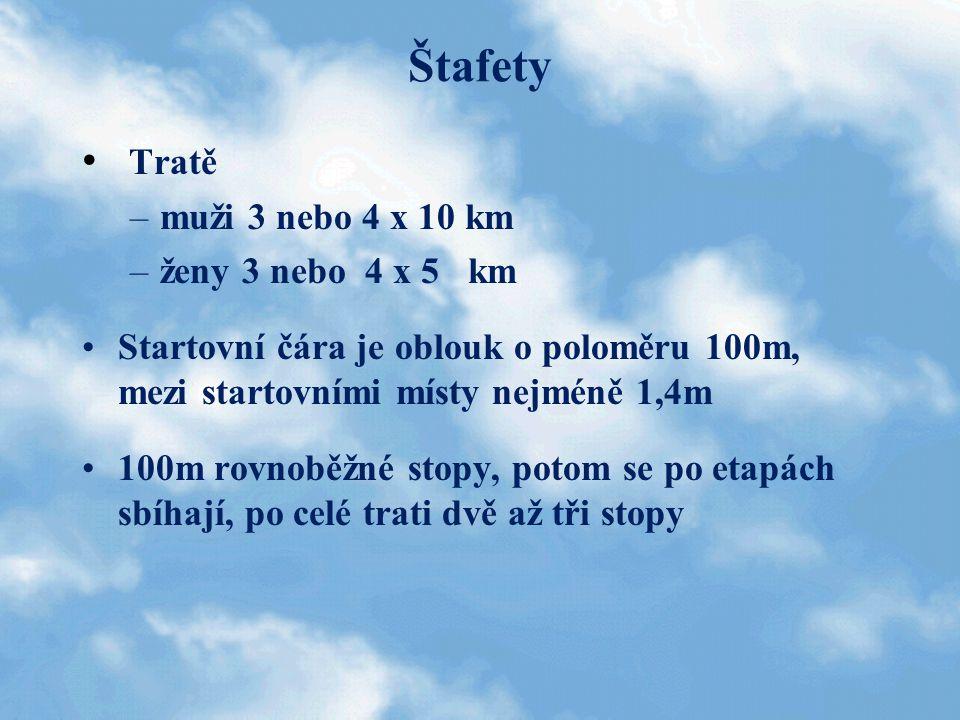 Štafety Tratě muži 3 nebo 4 x 10 km ženy 3 nebo 4 x 5 km