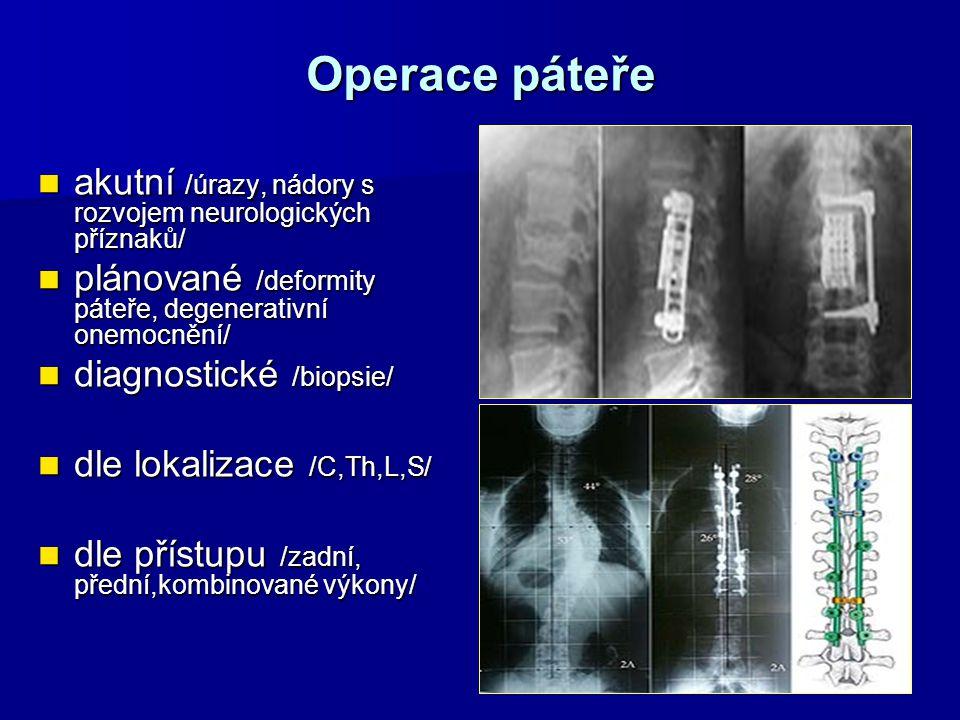 Operace páteře akutní /úrazy, nádory s rozvojem neurologických příznaků/ plánované /deformity páteře, degenerativní onemocnění/