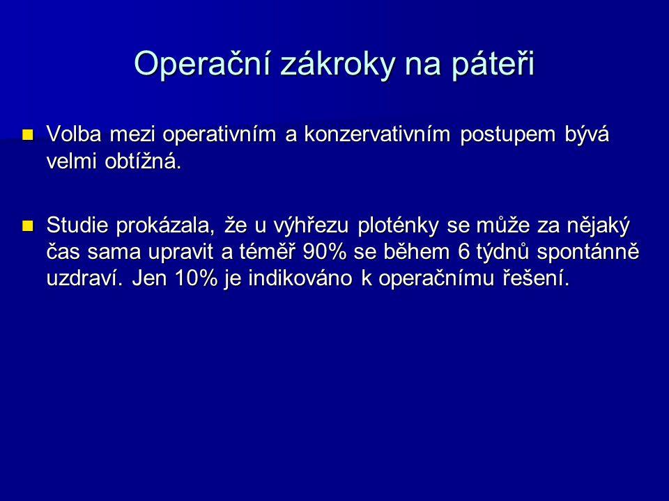 Operační zákroky na páteři