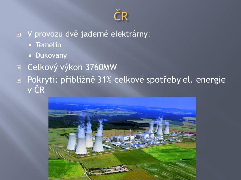ČR V provozu dvě jaderné elektrárny: Temelín. Dukovany.