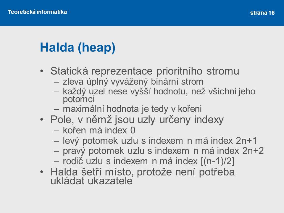 Halda (heap) Statická reprezentace prioritního stromu